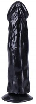Черный вибратор-реалистик на присоске №27 - 19,5 см.