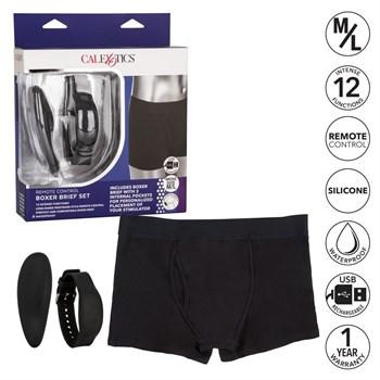 Черные трусы-боксеры с вибромассажером Remote Control Panty Set M/L