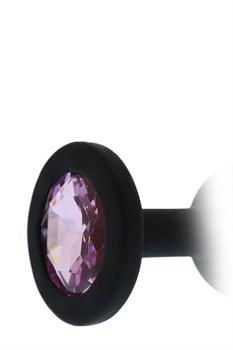 Черная гладкая анальная пробка с розовым кристаллом - 7 см.