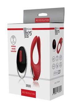 Красное эрекционное кольцо EROS с пультом ДУ