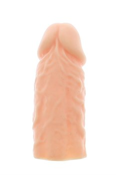 Телесная реалистичная насадка на пенис SUPER STRETCH EXTENDER 4INCH - 10 см.