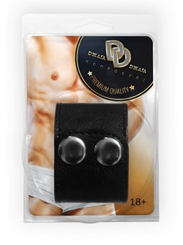 Черный ремень-утяжка на пенис на заклепках