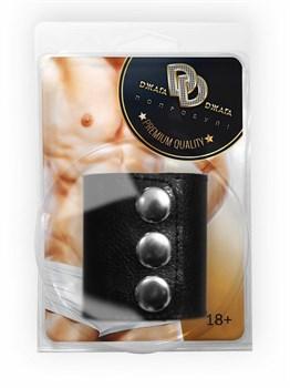 Широкое лассо-утяжка на пенис с металлическими кнопками
