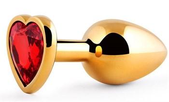 Золотистая анальная пробка с красным стразом-сердечком - 8 см.
