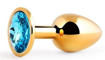 Золотистая анальная пробка с голубым стразом - 7,2 см.