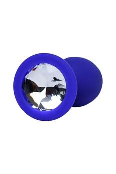 Синяя анальная пробка с прозрачным кристаллом - 7,3 см.