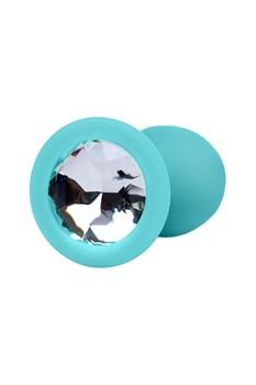 Мятная анальная пробка с прозрачным кристаллом - 7,3 см.