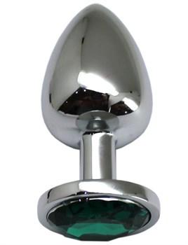 Серебристая анальная пробка с изумрудным кристаллом - 9 см.