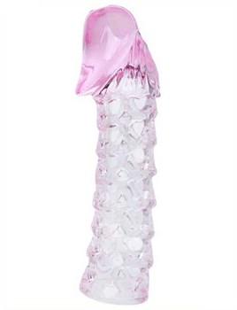 Розовая закрытая насадка на пенис BATMAN SLEEVE - 11,7 см.