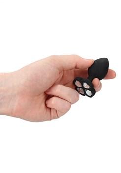 Черная анальная пробка с прозрачным кристаллом-клевером Regular Lucky Diamond Butt Plug - 7 см.
