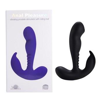 Черный вибростимулятор простаты Anal Vibrating Prostate Stimulator with Rolling - 13,3 см.