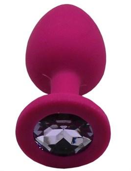 Малиновая анальная пробка с сиреневым кристаллом - 7,4 см.