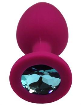 Малиновая анальная пробка с голубым кристаллом - 7,4 см.