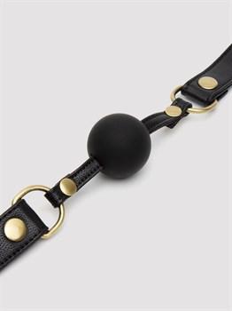Черный кляп-шар Bound to You Faux Leather Ball Gag