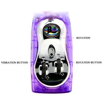Сиреневый вибромассажер-ротатор с клиторальным отростком Deluxe Dream Lover - 26 см.