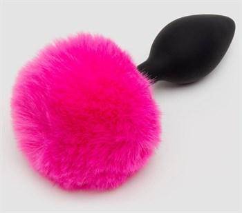 Черная анальная пробка с розовым хвостом Medium Bunny Tail Butt Plug