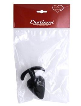 Черная коническая анальная пробка с ограничителем - 9,5 см.