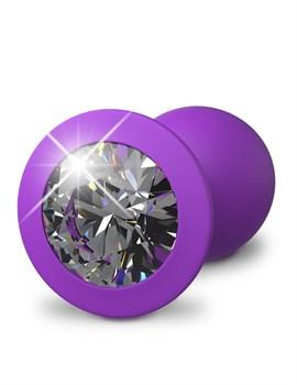 Фиолетовая анальная пробка с прозрачным стразом Her Little Gems Small Plug - 7,4 см.