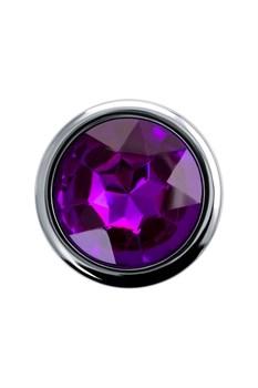 Серебристая анальная пробка с фиолетовым кристаллом - 9,5 см.