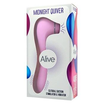 Розовый клиторальный вакуумный вибростимулятор Midnight Quiver - 18,6 см.