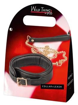Черный кожаный ошейник Leather Collar and Leash с поводком