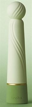 Салатовый вибратор с шаровидной мягкой головкой IROHA Rin+ Hisui - 16 см.