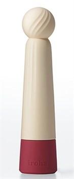 Бежевый вибратор с шаровидной мягкой головкой IROHA Rin Akane - 14,8 см.