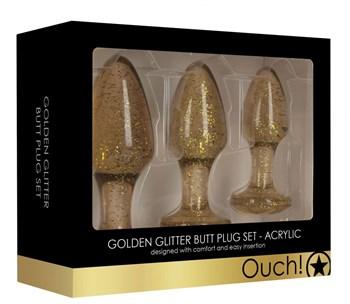 Набор из 3 золотистых анальных пробок Acrylic Goldchip Butt Plug Set