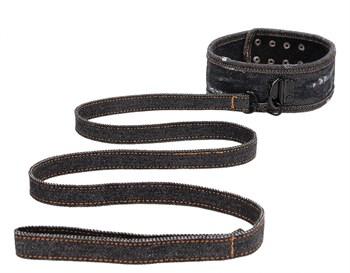 Черный джинсовый ошейник With Leash Roughend Denim Style