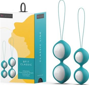 Бело-голубые вагинальные шарики Bfit Classic