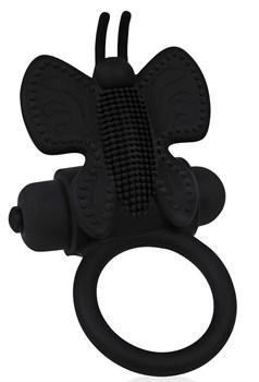 Черное эрекционное виброкольцо-бабочка