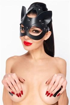 Черная кожаная маска  Кошка  с ушками