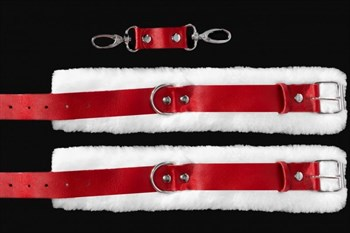 Бело-красные поножи из натуральной кожи с нежным мехом