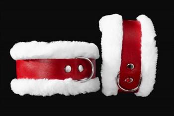 Бело-красные наручники из натуральной кожи с нежным мехом