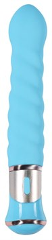 Голубой спиралевидный вибратор - 21 см.