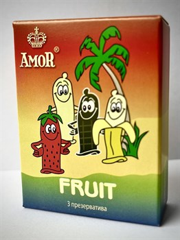 Ароматизированные презервативы AMOR Fruit  Яркая линия  - 3 шт.