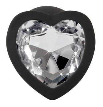 Черная силиконовая анальная пробка с прозрачным стразом-сердечком - 7,3 см.