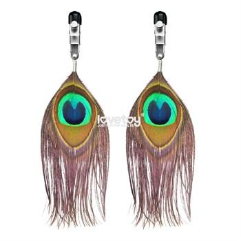 Зажимы на соски с павлиньими перьями Nipple Clamp With Peacock Feather Trim