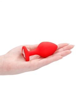 Красная анальная пробка с прозрачным стразом Large Ribbed Diamond Heart Plug - 8 см.
