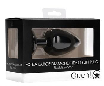 Черная анальная пробка с прозрачным стразом Extra Large Diamond Heart Butt Plug - 9,5 см.