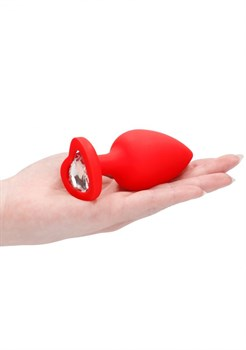 Красная анальная пробка с прозрачным стразом Extra Large Diamond Heart Butt Plug - 9,5 см.
