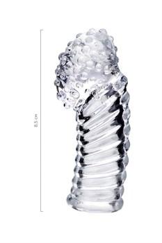Прозрачная рельефная насадка на палец Dale - 8,5 см.