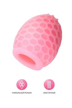 Розовый рельефный мастурбатор Pufl