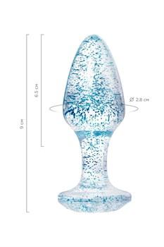 Голубая акриловая анальная втулка - 8 см.