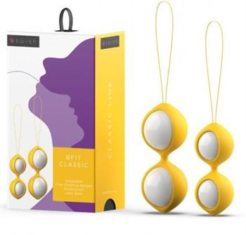 Бело-желтые вагинальные шарики Bfit Classic