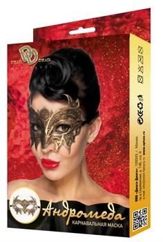 Золотистая карнавальная маска  Андромеда