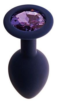 Черничная анальная пробка с фиолетовым кристаллом Gamma S - 7,2 см.