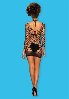 Оригинальное сетчатое платье с длинным рукавом