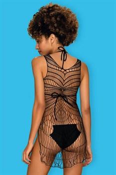 Оригинальное сетчатое платье с разрезами по бокам