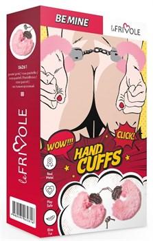 Розовые наручники с пушистым мехом и ключиками